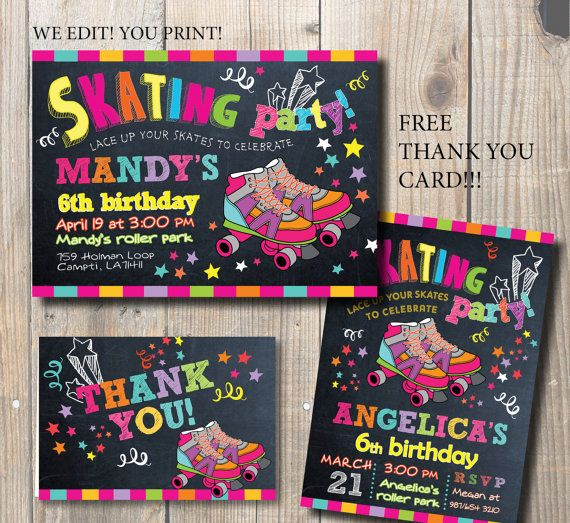 Roller Skating Invitation. Roller Skate Party by AngelinaWorks
