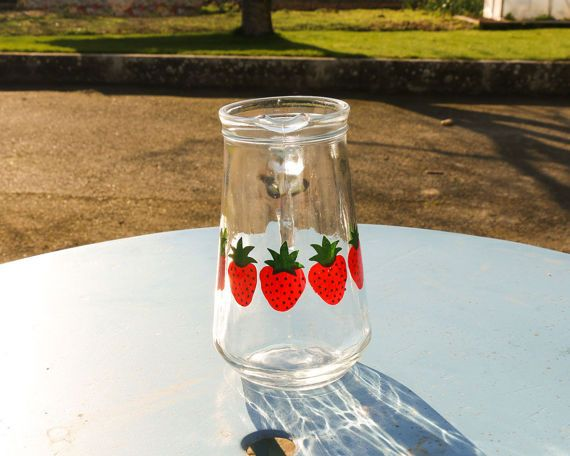 #Pichet #fraises #strawberry #jug #jar #arcopal #pitcher #henkel #lemonade #citronade