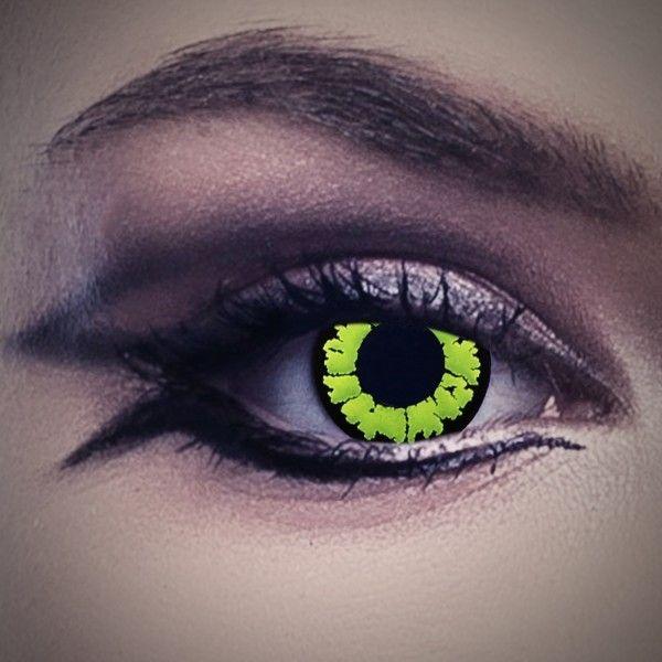 Kontaktlinsen grün mit schwarzem Rand, grüne Farblinsen, Tierlinsen