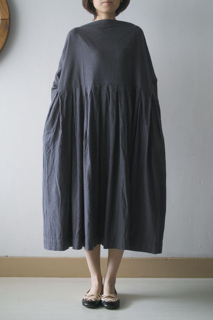 tuck dress in dark grey silk pibico: jujudhau