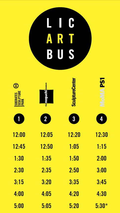 Free bus stops at the entrances of Socrates Sculpture Park, The Noguchi Museum, SculptureCenter, and MoMA PS1, will run on Saturday and Sunday afternoons, from May 10 – September 14, from noon to 6PM (see schedule below). T Each Museum is open until 6PM, Socrates Sculpture Park closes at sunset. SculptureCenter will be closed on the following dates: 5/17–18, 5/24–25, 5/31, 8/3, 8/9–10, 8/16–17, 8/23–24, 8/30–31, 9/6–7, 9/13–14.