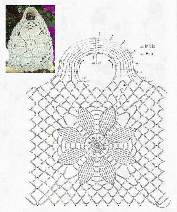 Häkeltaschenmuster mit einer großen Blume als zentralem Motiv. Mehr Great Looks L … #beauti…