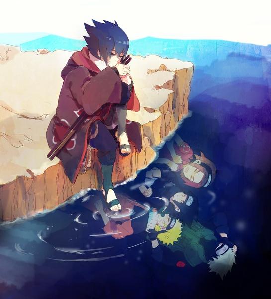Sasuke thinking of Naruto, Sakura, and Kakashi