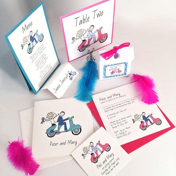 Vespa Scooter Wedding Handmade invitations and Stationery