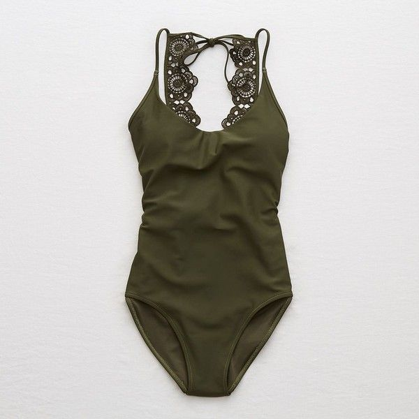Aerie Lace Back One Piece Swimsuit ($40) ❤ liked on Polyvore featuring swimwear, one-piece swimsuits, green, green one piece swimsuit, green bathing suit, one piece bathing suits, aerie swimwear and aerie swimsuits