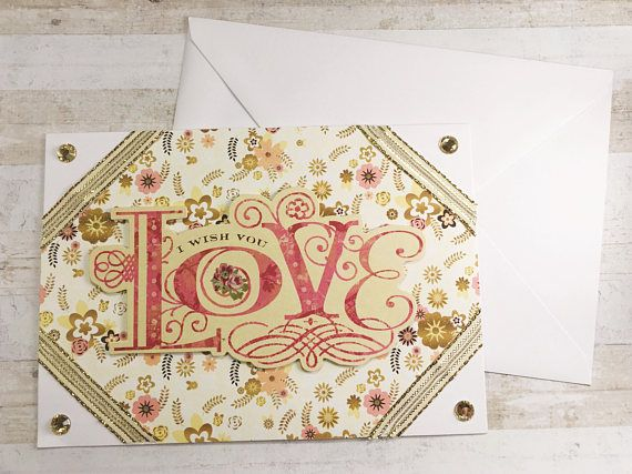 Engagements, weddings, family or friends, this card is perfect for the special moments of those nearest and dearest to you. The beautiful I Wish You Love sentiment pops out against a lovely flowery background, with some glitter for some gentle sparkle. The corners remain white,