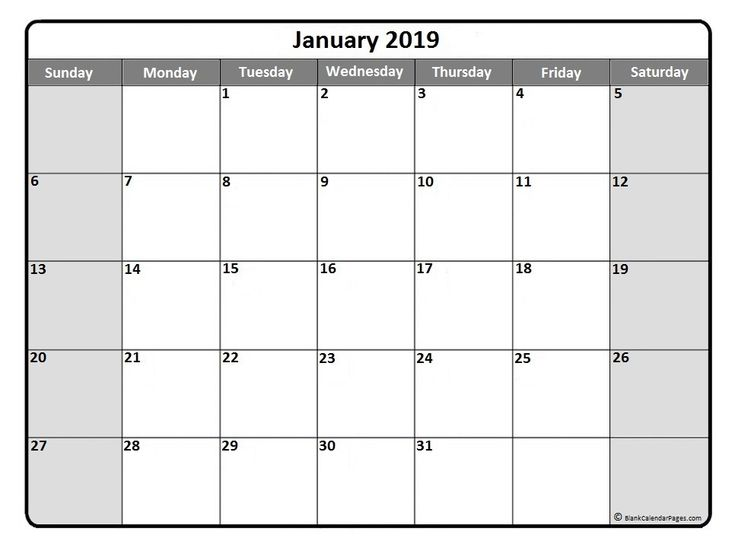 #January2019 #Calendar #printable January 2019 monthly calendar printout