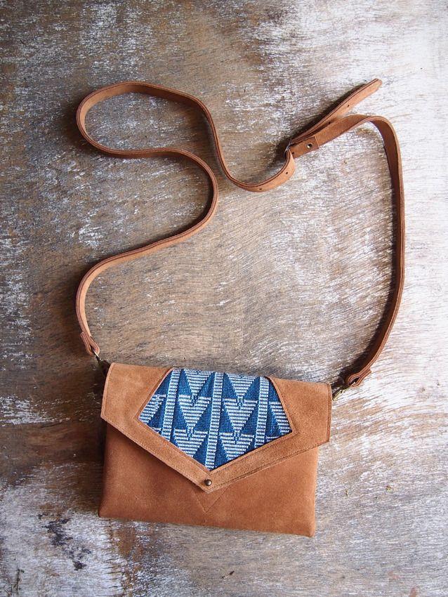 sac à main ethnique cuir et coton tissé RÉSERVÉ : Sacs à main par jaarokoko
