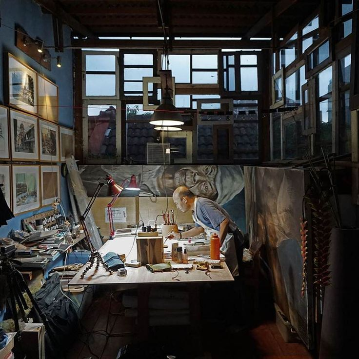 My painting studio converted from a small attic with DIY walls from used window panes arranged in random fashion. In rainy season it gets so cozy and warm sometimes I just want to lay on the wooden floor and sleeping instead of working. #paintingstudio #watercolorartist #watercolorpainting