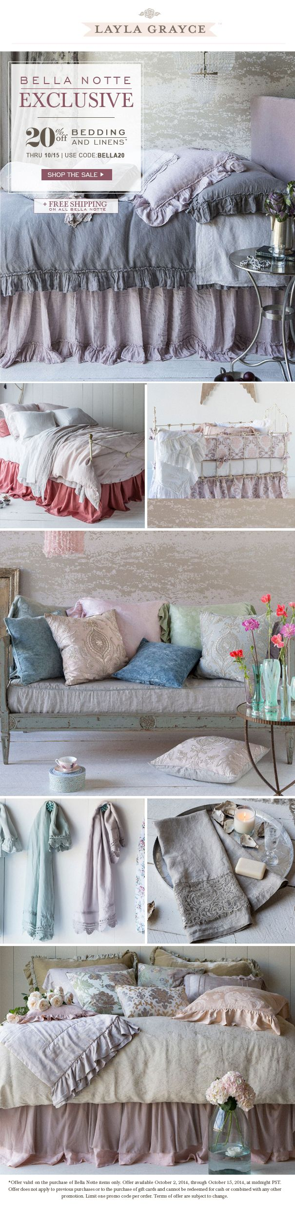 Bella Notte exclusive, 20% off Bedding and Linens thru 10/15 with code BELLA20. Happy shopping!