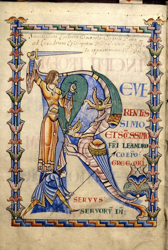 Initial R with knight fighting a Dragon, 'Moralia in Job', Citeaux, France, 1111AD