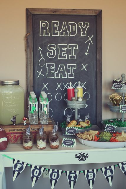 Cool chalkboard backdrop at a Football Party!  See more party ideas at CatchMyParty.com!  #partyideas #football