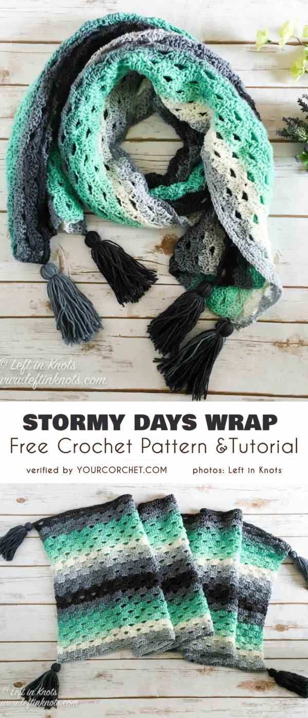 Stormy Day Wrap Free Crochet Pattern