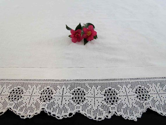 Damask Tablecloth With Crocheted Border by LouisaAmeliaJane