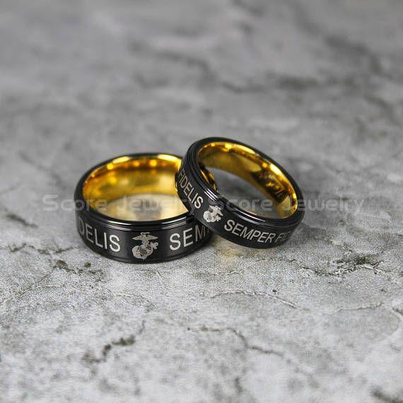 Us navy ring. Navy ring. Army ring. Military ring. Black tungsten ring. Couple ring set