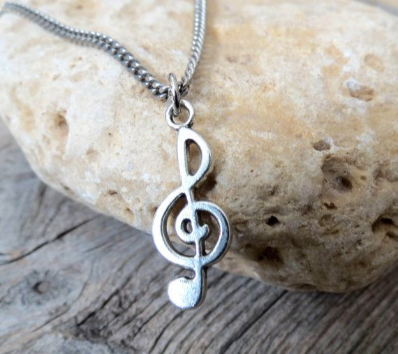 """Men's Necklace - Men's Treble Clef Necklace - Men's Silver Necklace - Mens Jewelry - Necklaces For Men - Jewelry For Men - Gift for Him Looking for a gift for your man? You've found the perfect item for this! The simple and beautiful necklace features silver plated chain with a treble clef pendant. Length: 25"""" (65 cm). $35"""