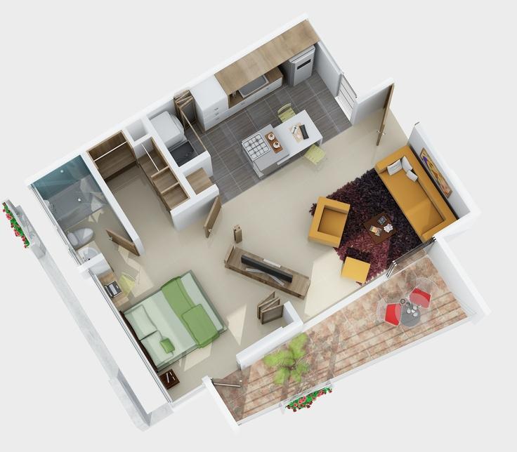 Axonometría Apartamento 52M2