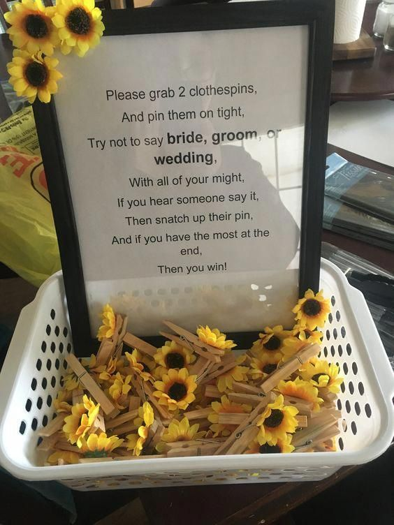 Sunflower themed bridal shower clothespin game Bridal