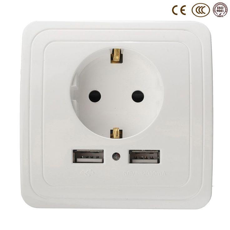 Bán buôn Tường Ổ Cắm Điện Cắm Căn Cứ, 16A EU Điện Tiêu Chuẩn Outlet Với 2000mA Kép USB Cảng đối với Di Động