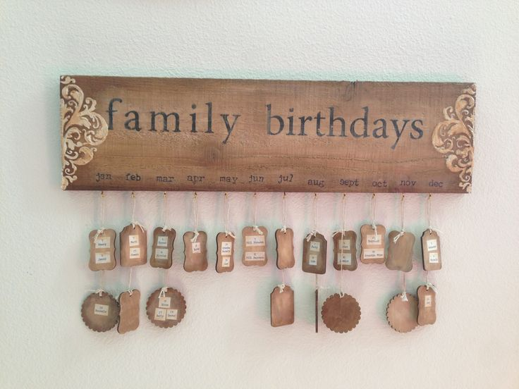 wood family birthday calendar with wood tags 20 x 5 1/2 inch