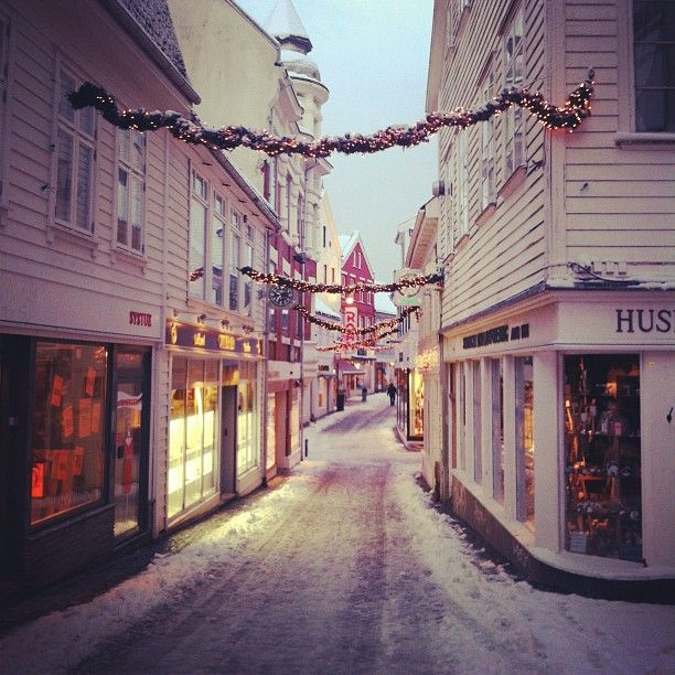 Snow And Christmas Lights In Stavanger Norway