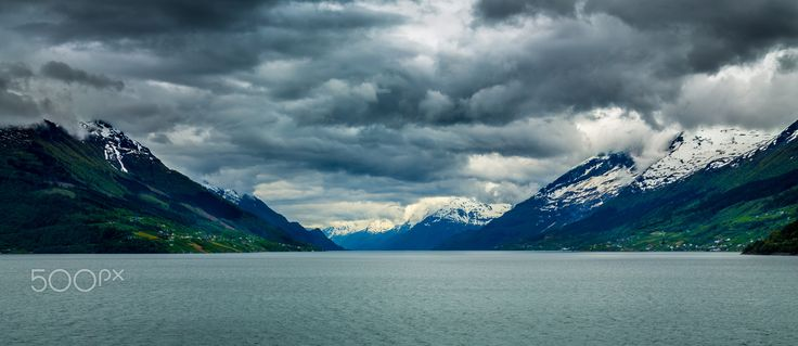 Approaching Storm - Panorama shot of the Eidfjord in Norway.