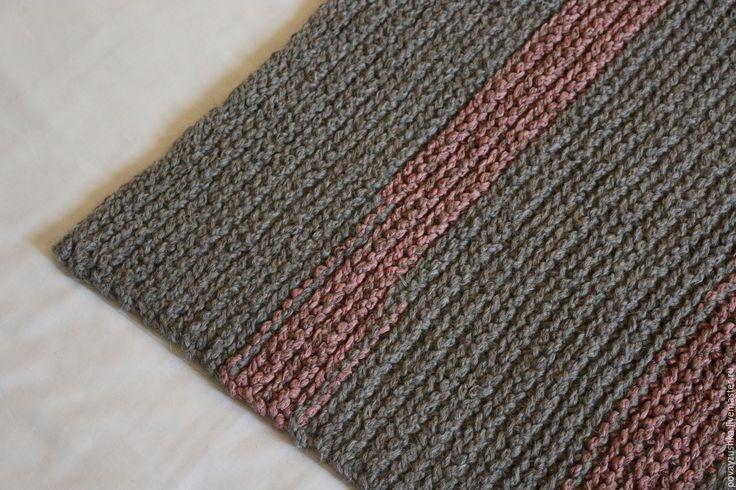 """Купить коврик вязаный """"Розовый Слон"""" - серый, ковер ручной работы, вязаный коврик"""