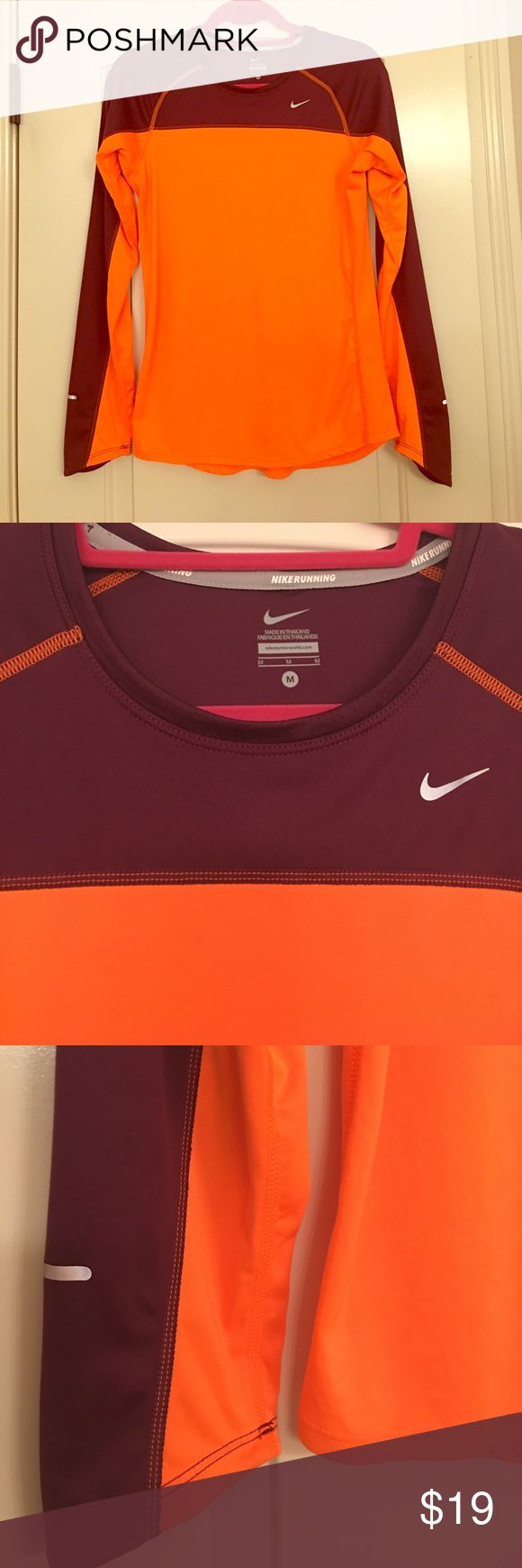 NIKE Running Women's Long Sleeve Shirt, Size M NIKE Running Women's Long Sleeve Shirt, Size M, Excellent condition. Bright orange and maroon color. Great for running outdoors to be seen easily. Looking to go to a great 2nd home! Nike Tops Tees - Long Sleeve