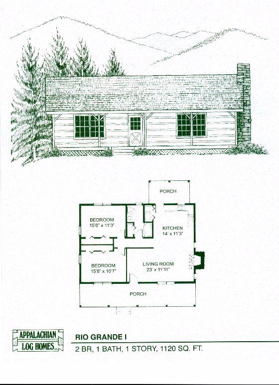 Rio Grande I - 2 Bed, 1 Bath, 1 Story, 1120 sq. ft., Appalachian Log & Timber Homes, Hybrid Home Floor Plan