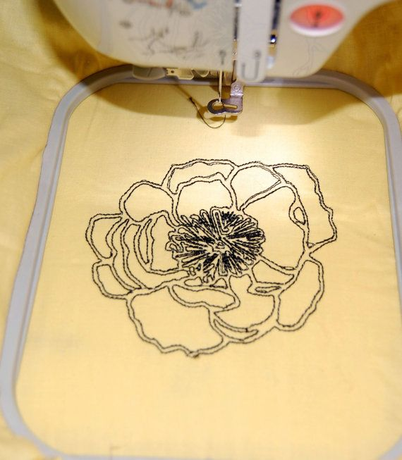 Machine Embroidery Design Peony & Rose Outline by smpatterns