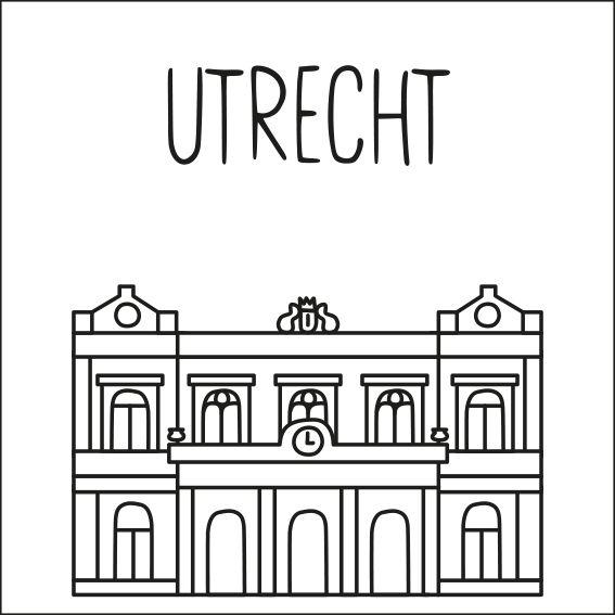 Haal een beetje van Utrecht in huis met deze leuke 'straat' #raamtekening met een paar van de bekende gebouwen: Winkel van Sinkel, Nijntje museum, Domtoren, Rietveld Schröderhuis, Spoorweg museum, Sonnenborgh Sterrenwacht, Duitse huis en Oudaen.