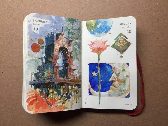 手帳に描いたファンタジックな絵がとても素敵♪手帳という固定概念を捨てて、絵を描いたり、写真を貼ったりと自分なりに楽しむともっと手帳が身近になるかもしれませんね。