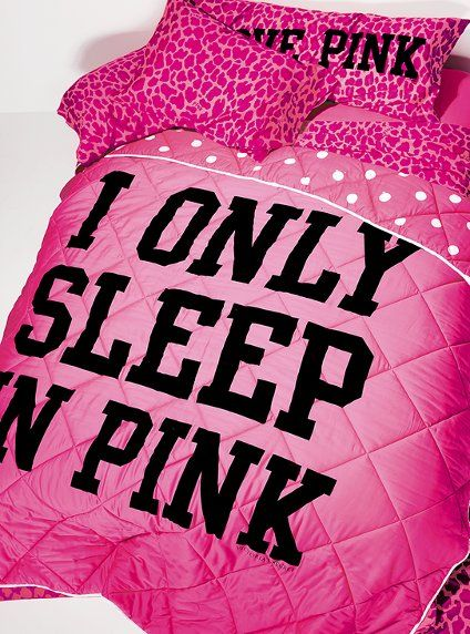 love PINK- I want!...if nothing else I want the pillows! pillows blanket
