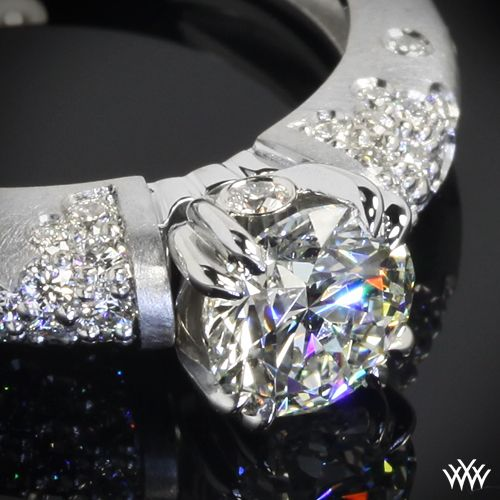 """Deliciously designed, the """"Champagne U-Prong Domed Pave"""" Diamond Engagement Ring is guaranteed to satisfy. Sprinkled with 33 pave set A CUT ABOVE® Hearts and Arrows Diamond Melee."""