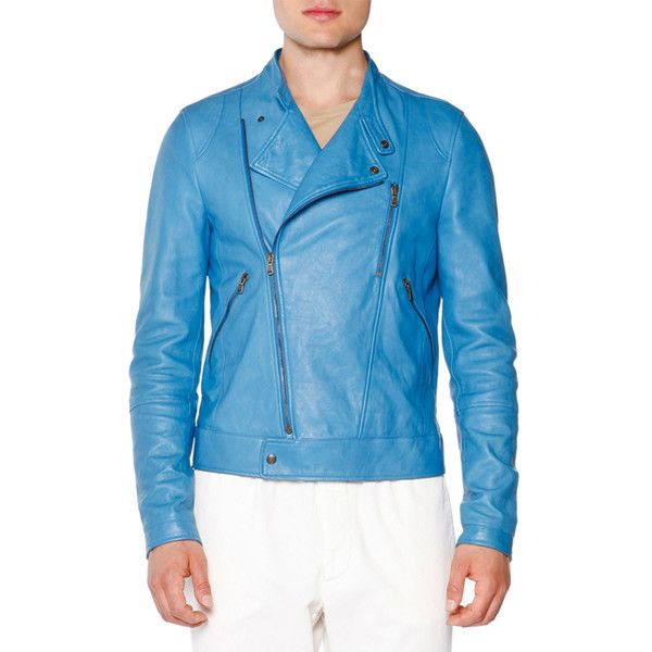 Tomas Maier Asymmetric Leather Moto Jacket ($1,445) ❤ liked on Polyvore featuring men's fashion, men's clothing, men's outerwear, men's jackets, blue, mens asymmetrical jacket, mens blue leather jacket, mens leather motorcycle jacket, mens asymmetrical leather jacket and mens blue jacket