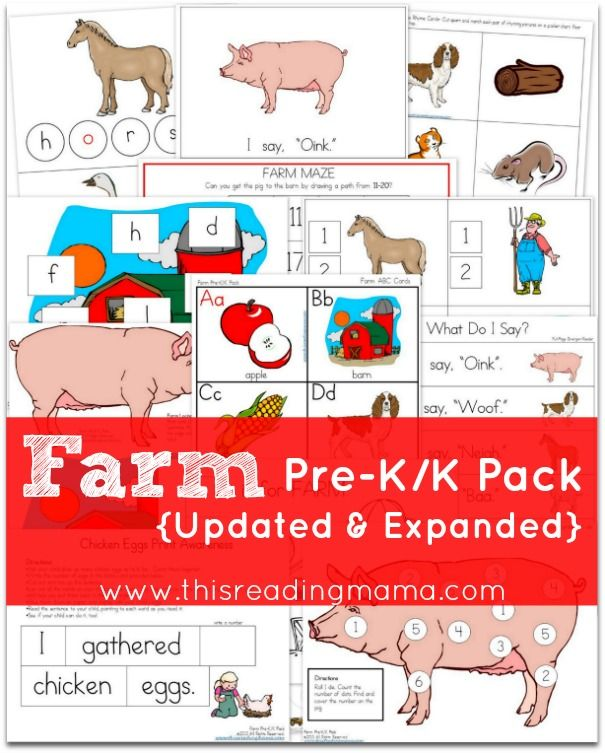 FREE Farm Pre-K/K Pack {Updated and Expanded} ~ the 80+ pack has an emergent reader with early literacy and math activities for Preschoolers and Kindergartners | This Reading Mama