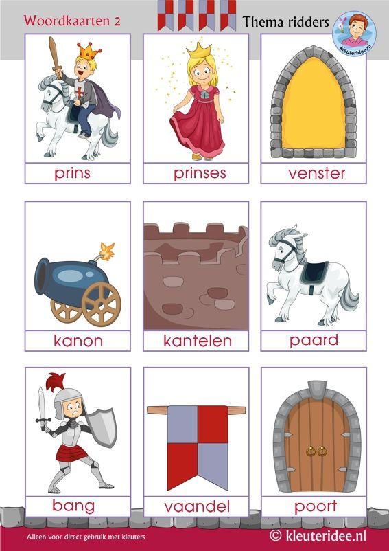 Woordkaarten 2 thema ridders voor kleuters, kleuteridee, Preschool knights theme, free printable.