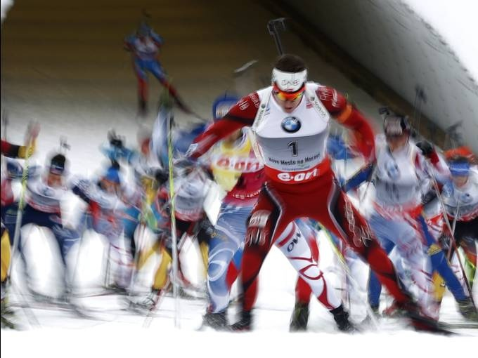 Emil Hegle Svendsen of Norway (1) leads the pack during the men's 15-kilometer mass start race at the Biathlon World Championships in Nove Mesto na Morave, Czech Republic. Svendsen finished third. Petr David Josek, AP