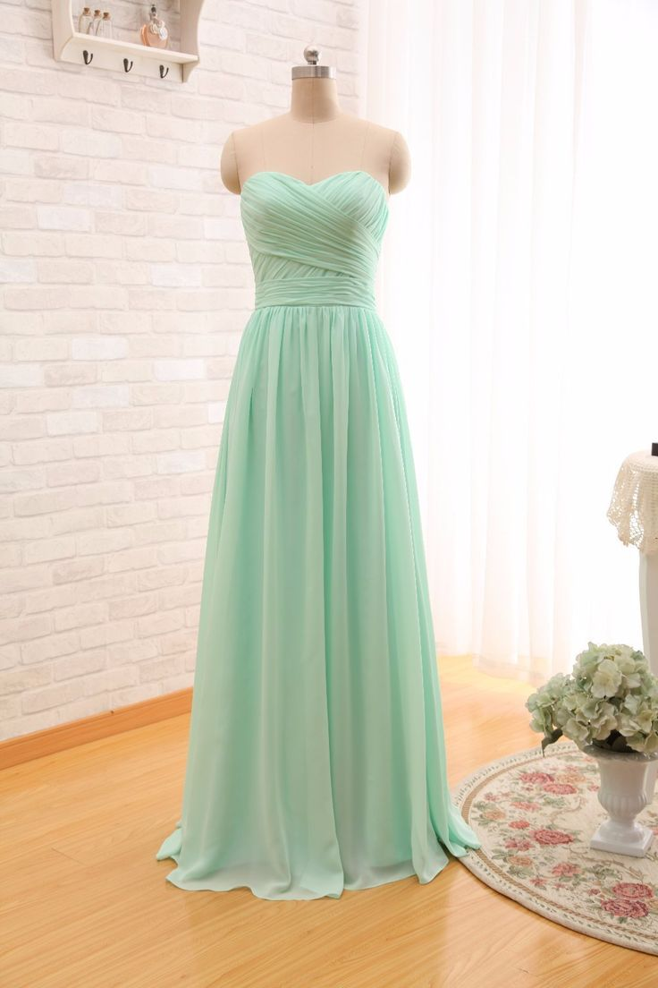 2016 Long Cheap Mint Green Bridesmaid Dresses Under 50 Floor Length Chiffon a-Line Vestido De Madrinha De Casamento Longo