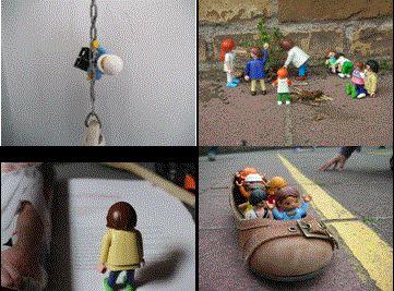 Little people - Slinkachu (Media) In groepjes van max. 3 leerlingen bedenk je 3 tot 5 scènes en opstellingen, zowel binnen (als buiten). Dit doe je aan de hand van playmobile ventjes. Maak van de scènes met je digitaal fototoestel een foto vanuit het juiste standpunt. (3de graad)