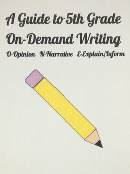 We have been very successful with On-Demand Writing. Included in this listing is ideas to help motivate your students to help them become successful with On-Demand writing prompts. Also included: Fifth grade pacing guide for writing, descriptions of how to teach, supplies that you need for the students, modes and forms of writing, example prompts, and guidelines for On-Demand writing.