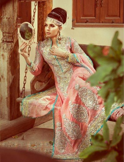 Designer: Nomi Ansari stunning pastel pink, blue and silver asian bridal dress