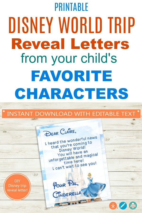 "Disney trip reveal ideas! Tell your kids, ""We're going to Disney World"" (or Disneyland) with these printable letters from their favorite Disney characters ..."
