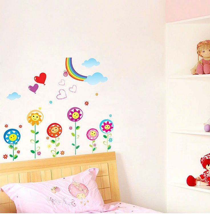 The 25 best wall stickers rainbow ideas on pinterest for Rainbow wallpaper for kids room