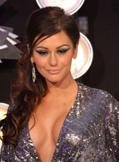 "Jenni ""Jwoww"" Farley Long, Curly Half Updo with Highlights"