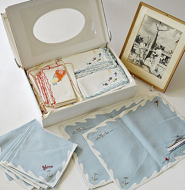 Vintage Custom Table Linens for a Fishing Yacht