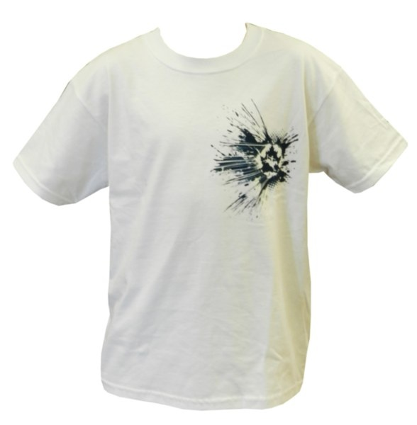 Youth CPRA Tee - White tee with blue splattered CPRA screenprint on front. 100% Pre-Shrunk Cotton