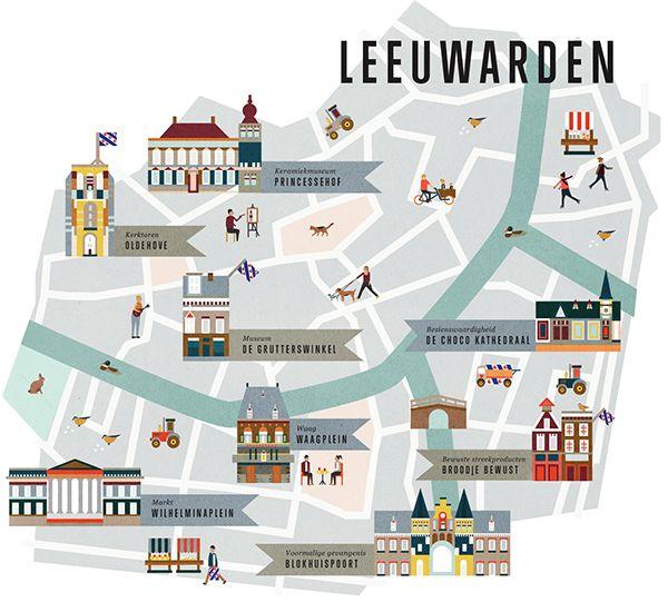 Map of Leeuwarden for Jamie Magazine the Netherlands