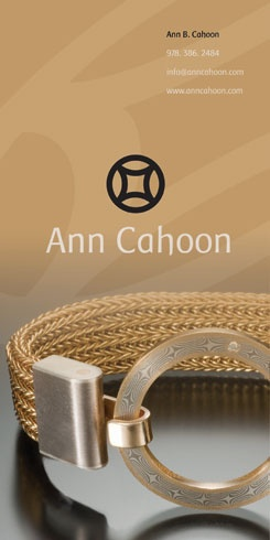 Another jeweler's advertisement, this time for Ann Cahoon. The ad/s ran in the 2010 Designer Jewelery Showcase, a hardcover book of high-end jewelers. As a value added service, the publication also offers reprints of the ads as postcards. This page will be produced as one large postcard, and the other as three smaller postcards.