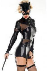 Ladies Carnival Sexy Catwomen Halloween Animal Cat Costume Black